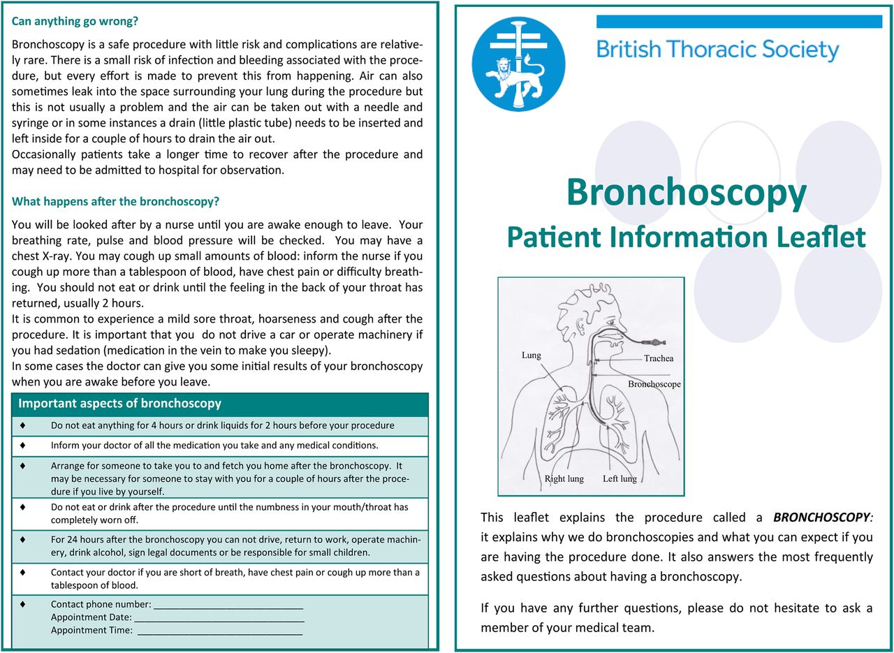 British Thoracic Society guideline for diagnostic flexible
