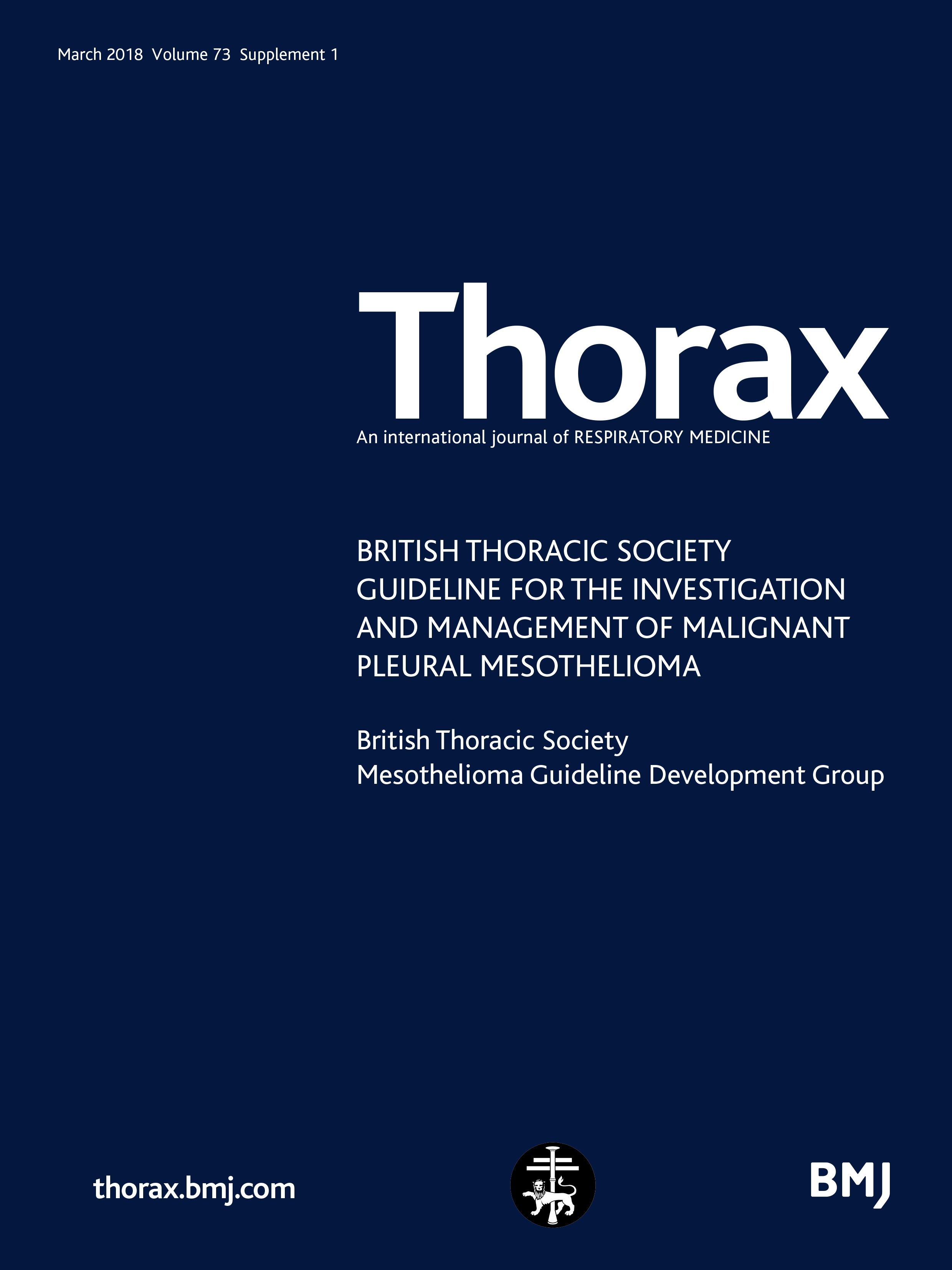 British Thoracic Society Guideline For The Investigation And Management Of Malignant Pleural Mesothelioma Thorax
