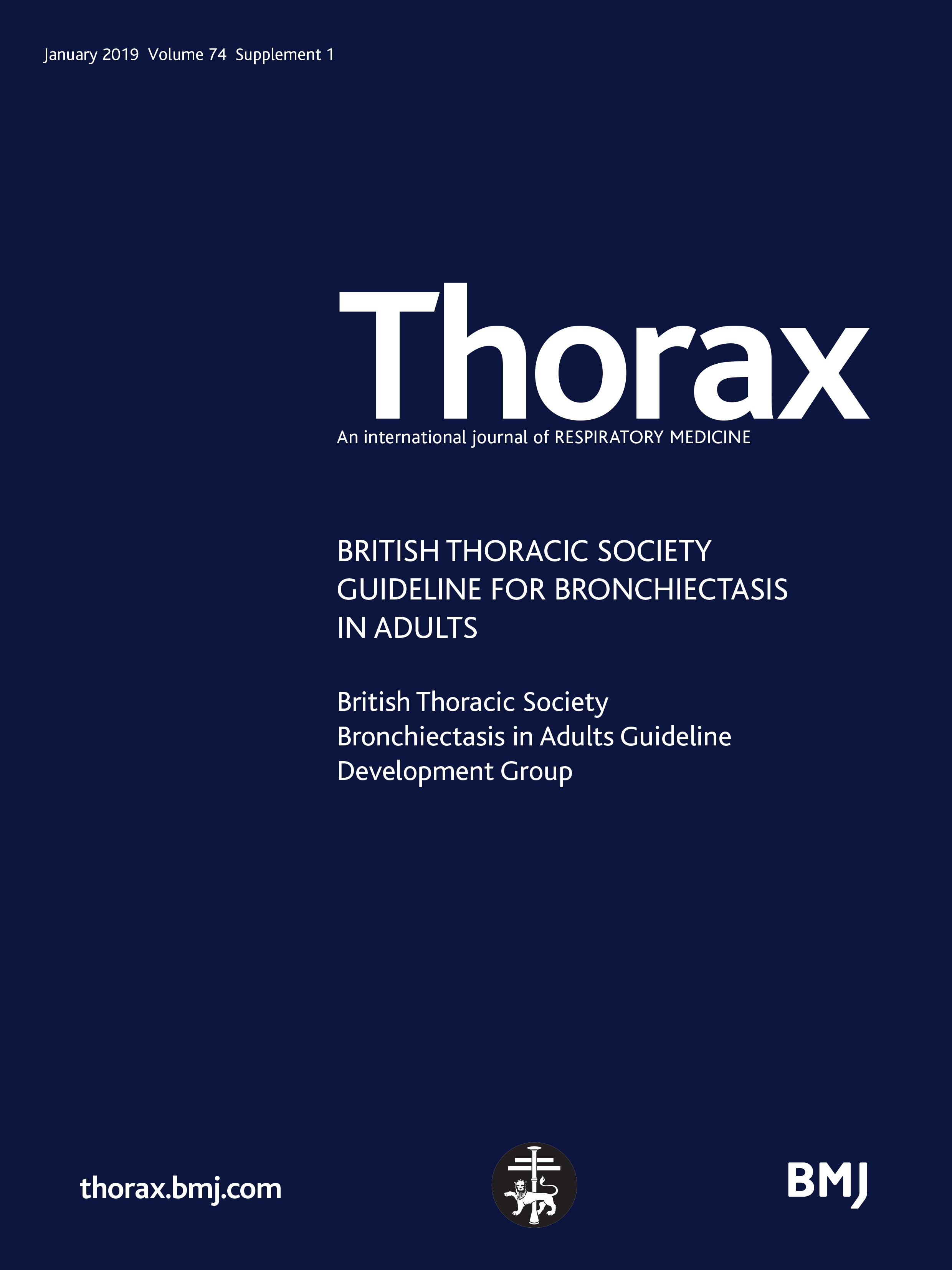British Thoracic Society Guideline for bronchiectasis in